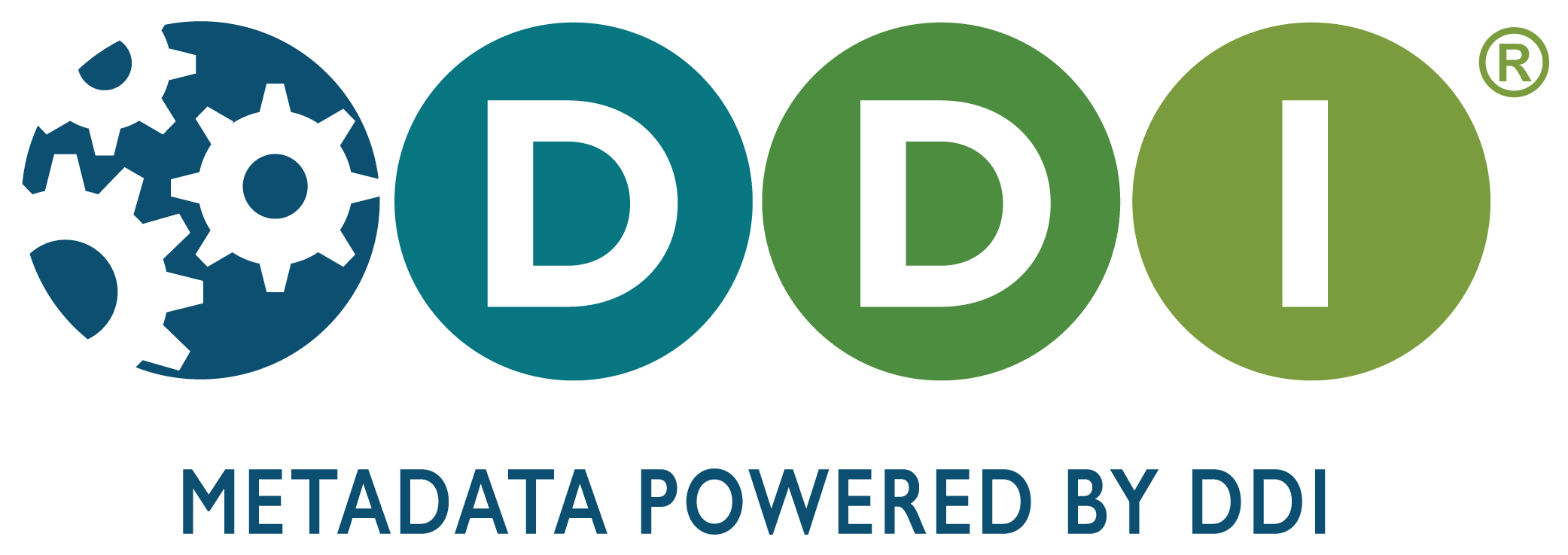 """DDI logo with Tagline 1 -- """"Metadata powered by DDI"""""""